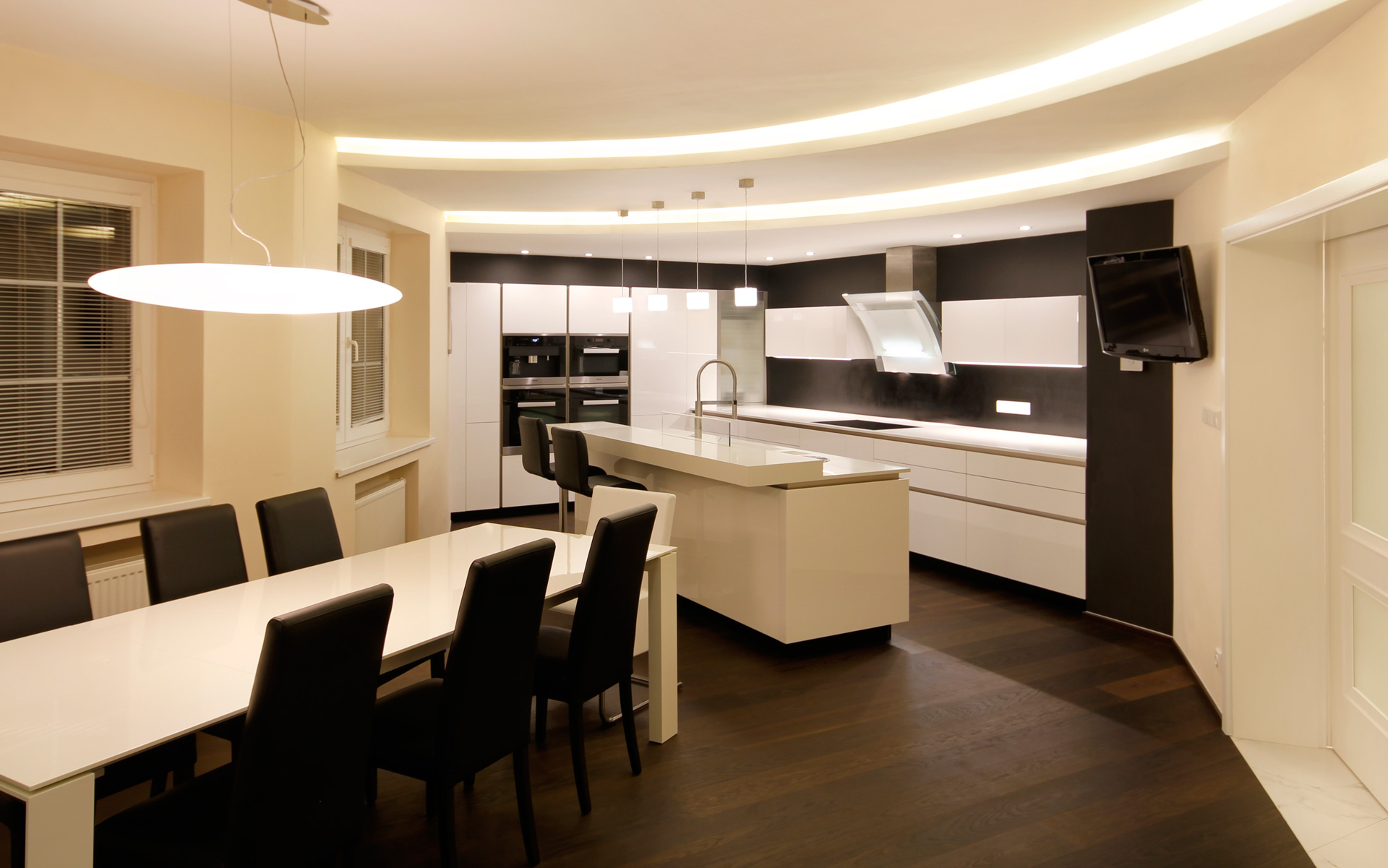 Dominant white color for a modern kitchen and living room