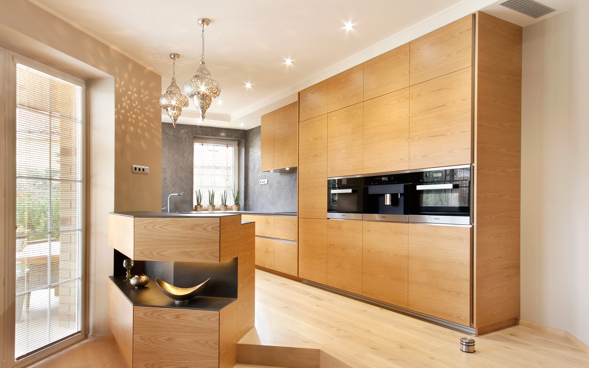 Interestingly designed ELITE kitchen, oak american natural