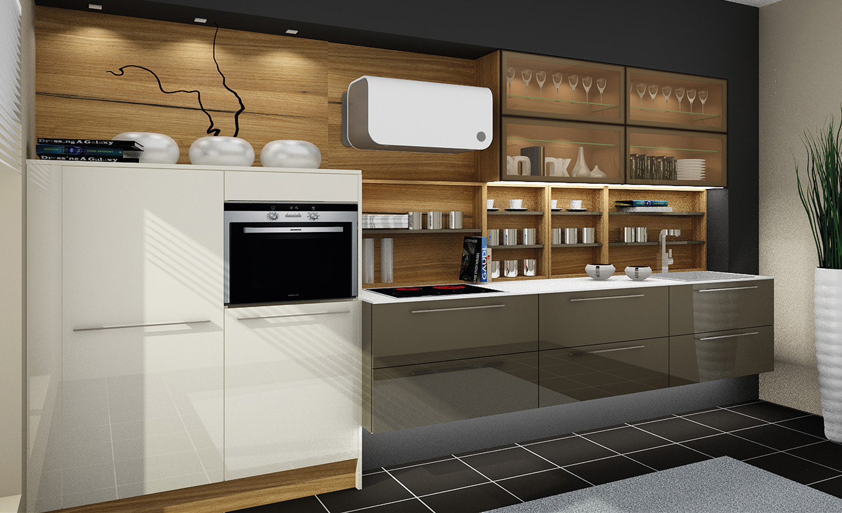 Kitchen LINE, white and mocca lacquer / walnut corte veneer