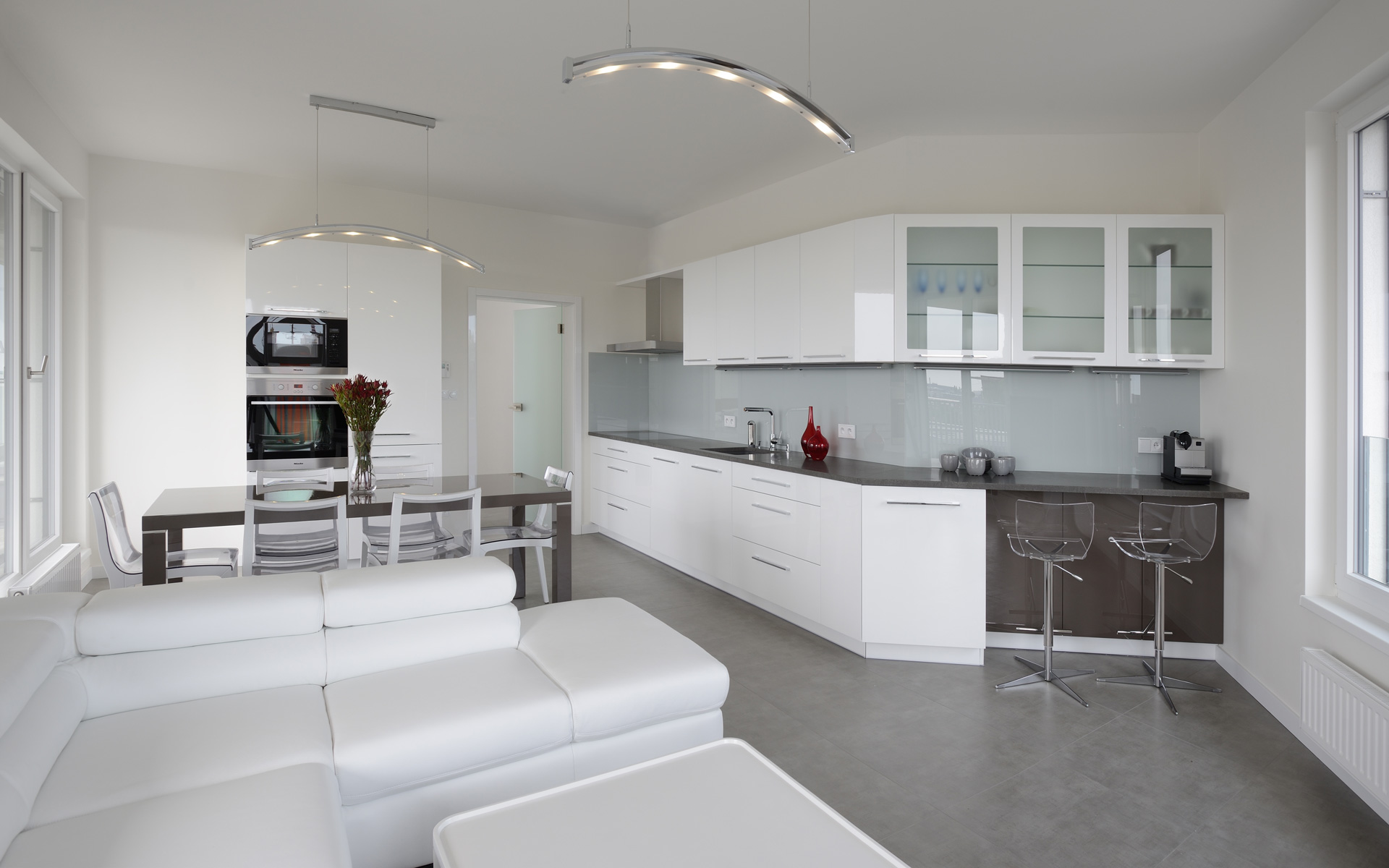 Fresh white interior, kitchen, doors and wardrobe system HANÁK