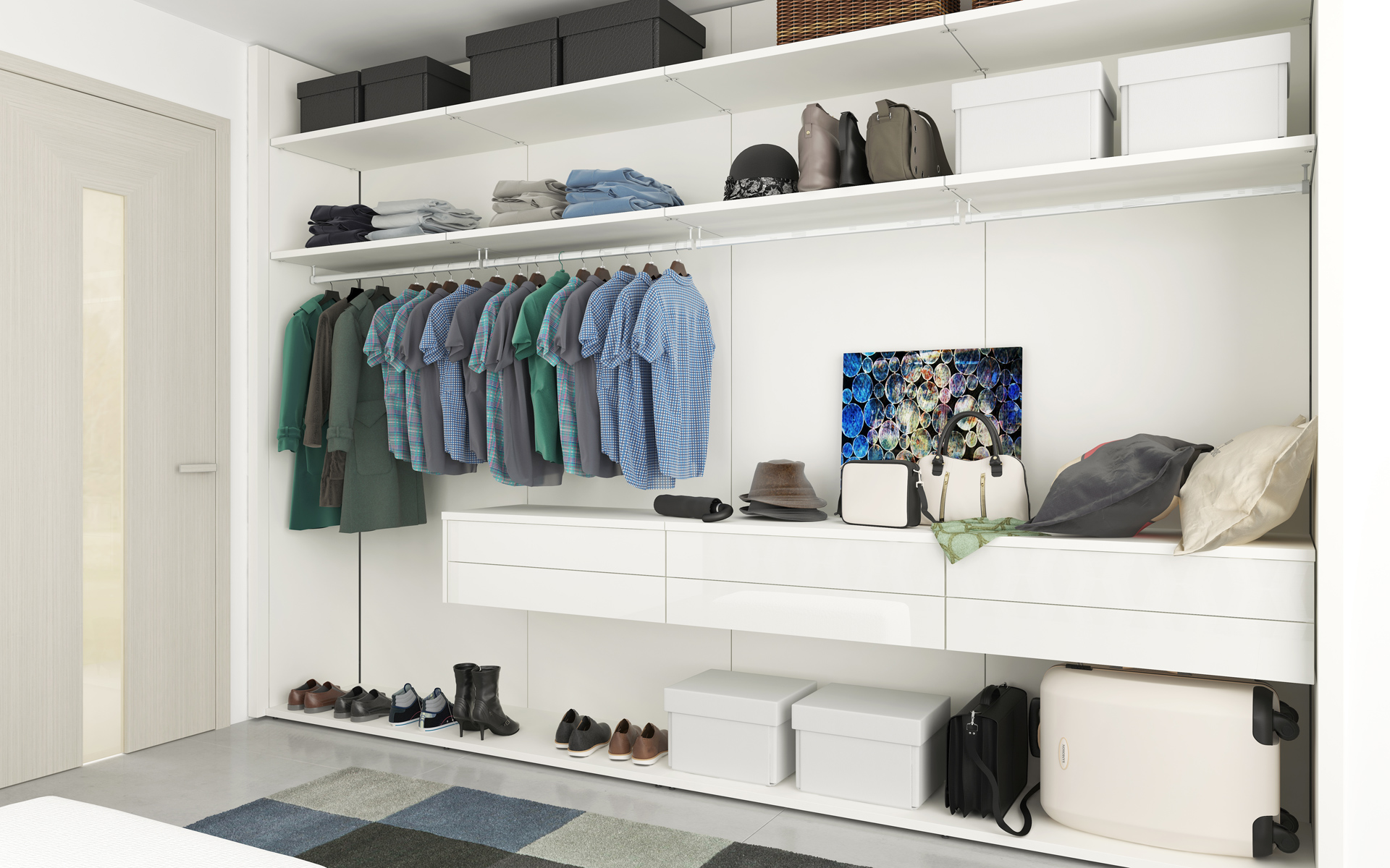 CASA closet system with backs